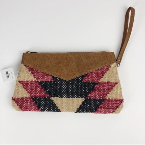 unknown Handbags - Aztec Print Jute Cotton Wristlet Southwest
